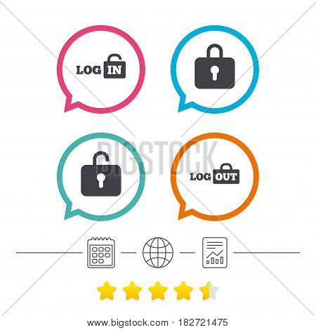 Login and Logout icons. Sign in or Sign out symbols. Lock icon. Calendar, internet globe and report linear icons. Star vote ranking. Vector