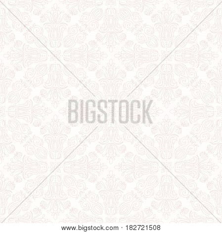 Seamless classic light pink pattern. Traditional orient ornament with pink outlines