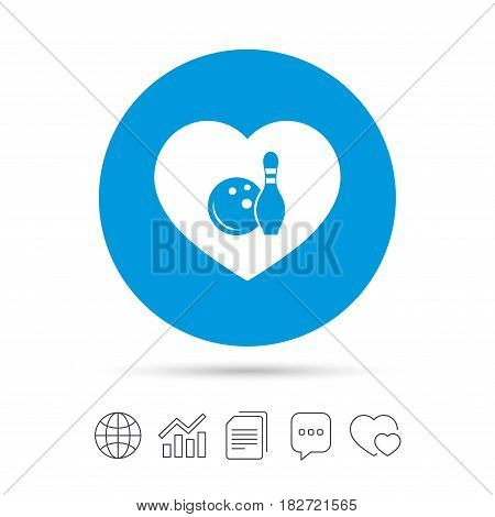 Love Bowling game sign icon. Ball with pin skittle symbol. Copy files, chat speech bubble and chart web icons. Vector