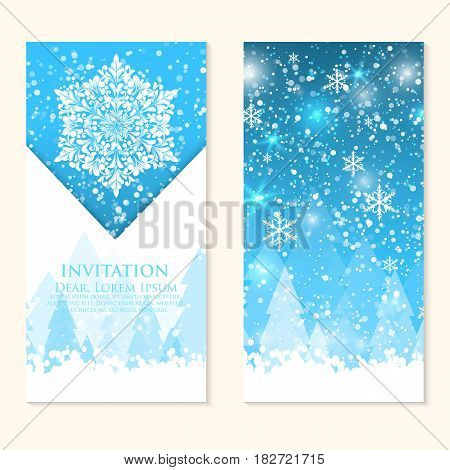 Vector invitation card with snowflakes. Happy New Year and Merry Christmas invitation card. Nice template for your designs.
