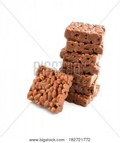 Chocolate with rice on white background -Clipping Path
