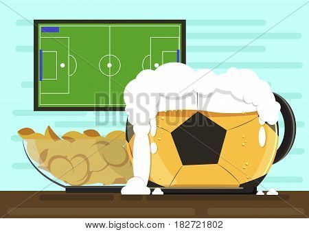 Image of mug in the form of a soccer ball with foam kraft beer and a plate of crispy potato chips. Against the backdrop of the TV screen with the broadcast of the world football championship. Flat style Vector illustration