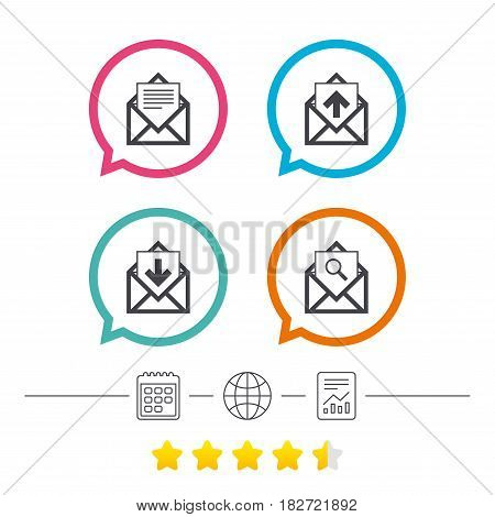 Mail envelope icons. Find message document symbol. Post office letter signs. Inbox and outbox message icons. Calendar, internet globe and report linear icons. Star vote ranking. Vector