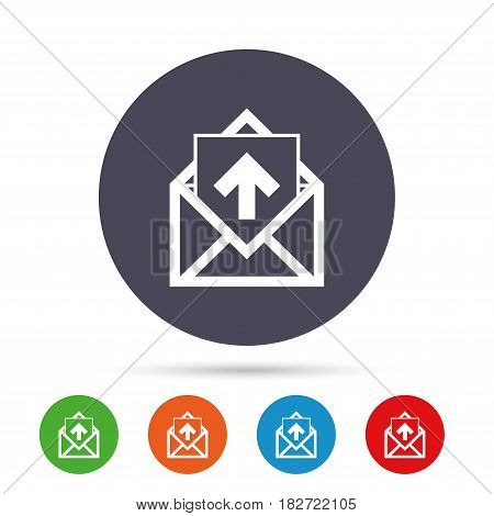 Mail icon. Envelope symbol. Outgoing message sign. Mail navigation button. Round colourful buttons with flat icons. Vector