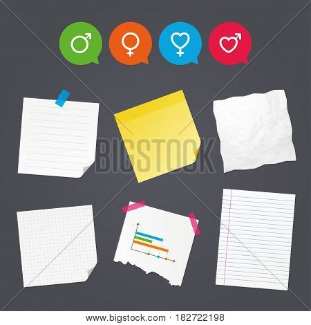 Business paper banners with notes. Male and female sex icons. Man and Woman signs with hearts symbols. Sticky colorful tape. Speech bubbles with icons. Vector