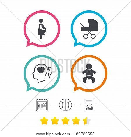 Maternity icons. Baby infant, pregnancy and buggy signs. Baby carriage pram stroller symbols. Head with heart. Calendar, internet globe and report linear icons. Star vote ranking. Vector