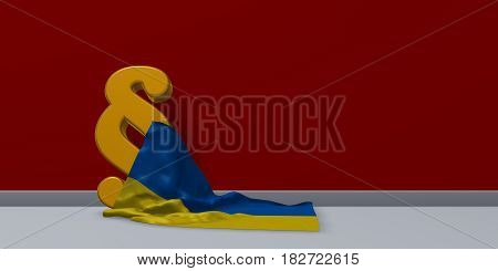 paragraph symbol and flag of the ukraine - 3d rendering