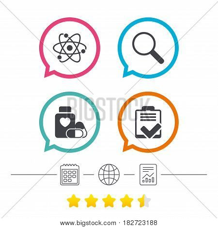 Medical icons. Atom, magnifier glass, checklist signs. Medical heart pills bottle symbol. Pharmacy medicine drugs. Calendar, internet globe and report linear icons. Star vote ranking. Vector