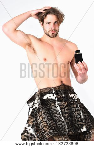Bearded Macho Man With Fur Coat Isolated On White Background