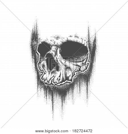 Abstract dotwork grunge skull. Template for tattoo or T-shirt print. Vector illustration.