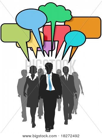 Social media business people walk and talk in color speech bubbles