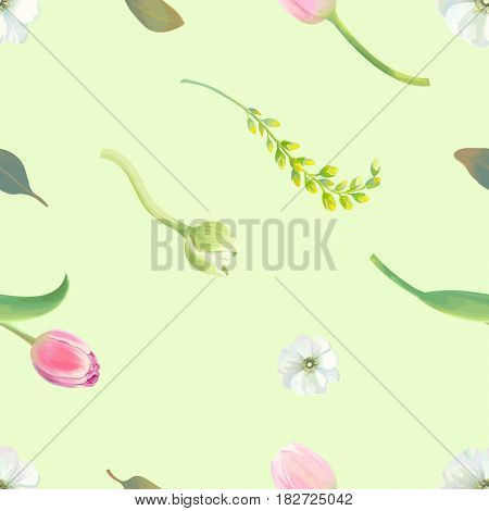 Beautiful botanical seamless pattern with tulips, white and yellow flowers and fresh leaves against light green background. Spring bloom concept. Vector illustration in rustic style for wallpaper