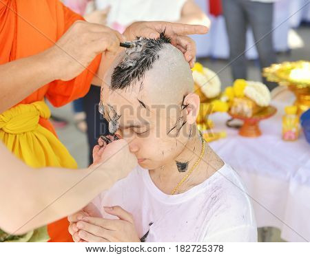 Asian Man Who Will Be Monk Shaving Hair For Be Ordained To New Monk
