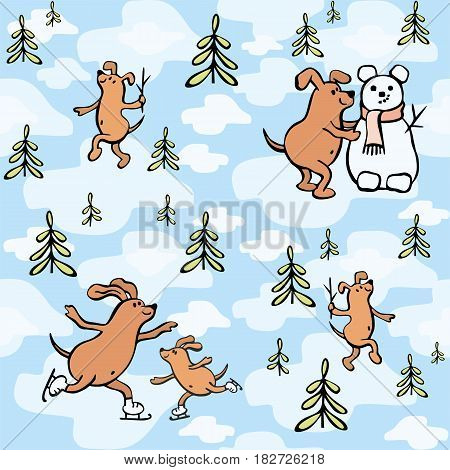 Children's seamless pattern in cartoon style with cute dogs. Father's day vector background.