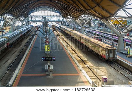 Melbourne, Australia - April 1, 2017: Southern Cross Railway Station Patforms On Spencer Street In M