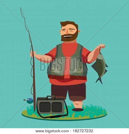 Happy fisherman stands and holds in hand fishing rod with spinning and fish catch, bag with fishman spin and equipment, funny cartoon vector illustration, Man s active vacation concept.