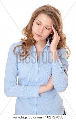 Young woman suffers from headache. All on white background.