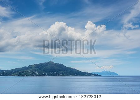 View on the coastline of the Seychelles Islands from Victoria harbor viewpoint Mahe Island Indian Ocean East Africa