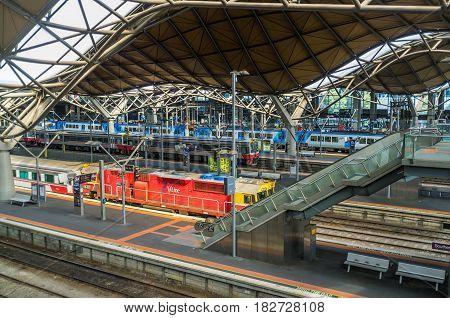 Melbourne, Australia - April 1, 2017: Platforms At Southern Cross Railway Station In Melbourne Cbd.