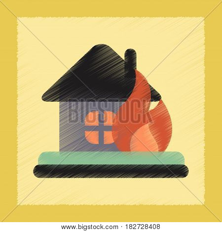 flat shading style icon nature fire house