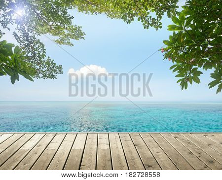 Beautiful tropical seascape with a lonely green island on a sunny day. Beautifull sea nature background.