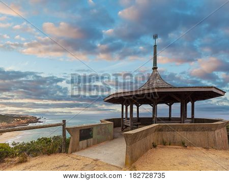 The Coppins Lookout Gazebo At Dusk. Sorrento Back Beach, Mornington Peninsula, Melbourne, Australia.