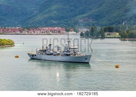 Victoria Mahe island Seychelles - December 17 2015: Hydrographic survey ship INS Darshak J21 in the harbor of Port Victoria Mahe island Seychelles Indian Ocean East Africa.