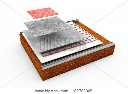 3d render thermal insulation of walls Polystyrene, Heating, Blind, Dowels, Polyurethane