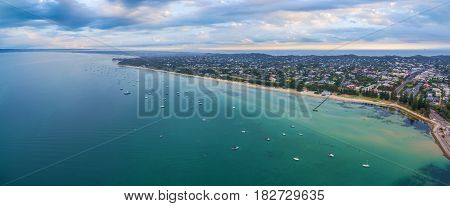 Aerial Panorama Of Sorrento Suburb Coastline With Moored Boats And Beautiful Turquoise Water. Mornin