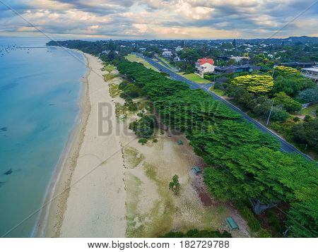 Aerial View Of Beautiful Sorrento Suburb Coastline With Beautiful Trees In The Morning.  Mornington