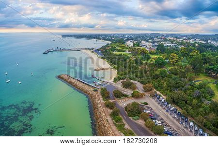 Aerial Panoramic Landscape Of Sorrento Suburb Coastline. Mornington Peninsula, Melbourne, Australia.