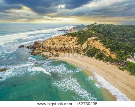 Aerial View Of Sorrento Ocean Beach Coastline And Coppins Lookout Gazebo At Sunrise. Mornington Peni