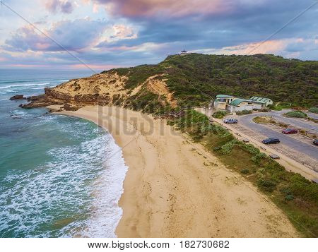 Aerial View Of Sorrento Ocean Beach And Coppins Lookout At Sunrise. Mornington Peninsula, Melbourne,