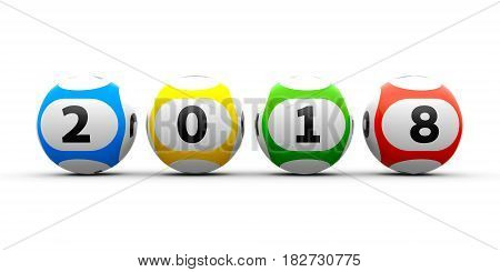 Lottery balls on a white table represents the new 2018 year three-dimensional rendering 3D illustration