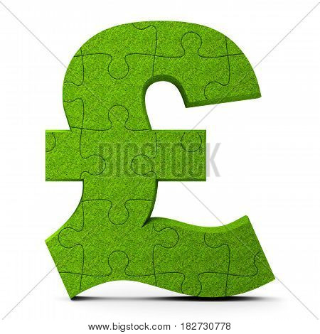 Green puzzle Pound sign isolated on white background three-dimensional rendering 3D illustration