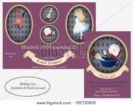 Alice in Wonderland. Birthday Invitation. White roses with red paint, flamingo croquet for the Royal.