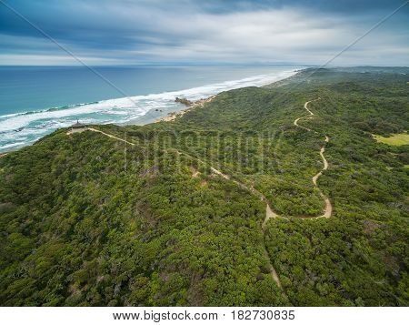 Aerial View Of Mornington Peninsula Coastline And Walking Trail Near Sorrento Ocean Beach And Coppin
