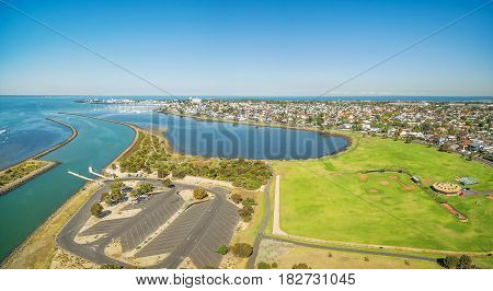 Aerial Panorama Of Greenwich Bay And Reserve,  Williamstown Suburb At High Noon. Melbourne, Victoria