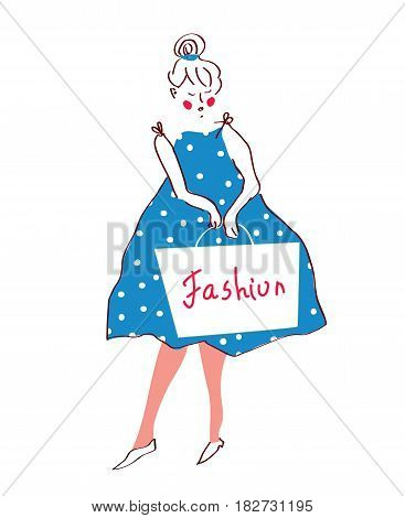 Fashion girl in dress retro style - vector graphic illustration