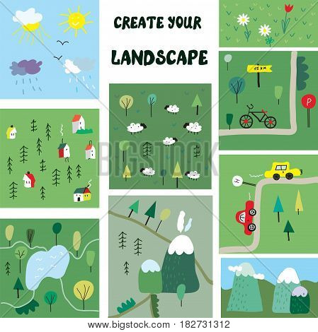 Create your own landscape constructor - funny map elements vector graphic illustration