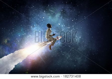 Woman riding missile. Mixed media . Mixed media