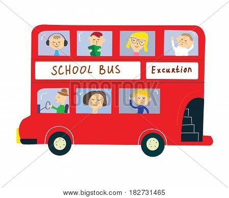 Bus with kids for school or excurtion - funny style vector graphic illustration