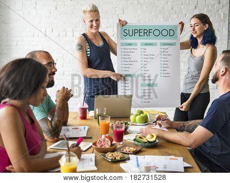 Diverse people having healthy food plans