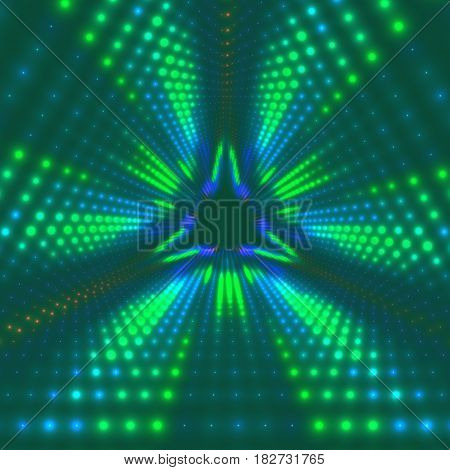 Vector infinite triangular tunnel of shining flares on background. Glowing points form tunnel sectors. Abstract cyber colorful background for your designs. Elegant modern geometric wallpaper.
