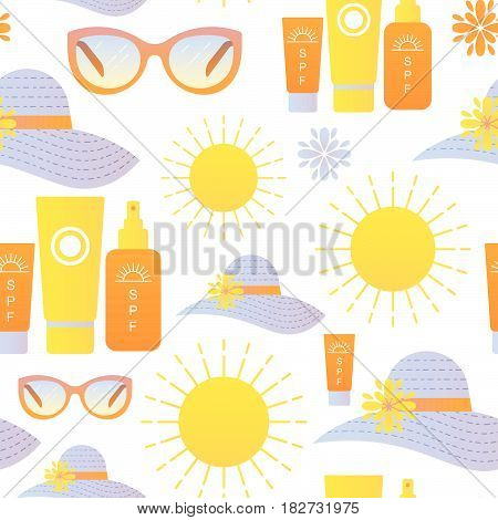 Vector seamless pattern sun protection design element.