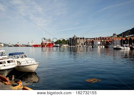 Boats and yachts in Bergen harbor. The Bergen harbor is one of Norway great attractions