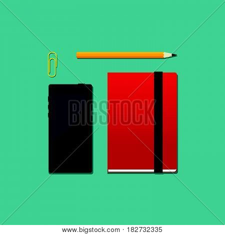 Vector illustration set of office or school objets. Mobile phone notebook pencil and paper clip in a flat stile.