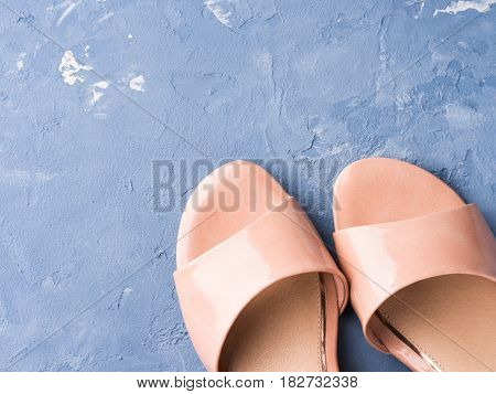Pair Of Woman Pink Sandals On Blue Background