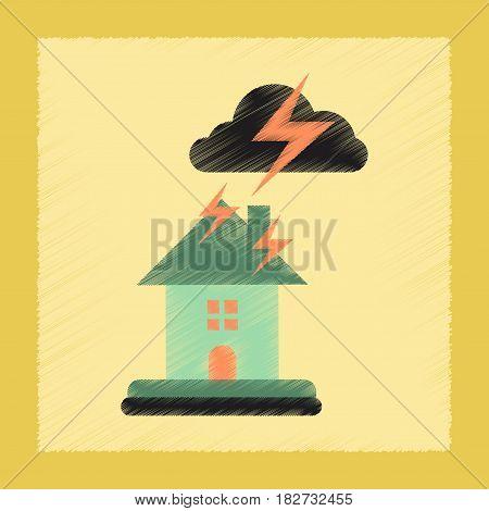 flat shading style icon nature lightning house