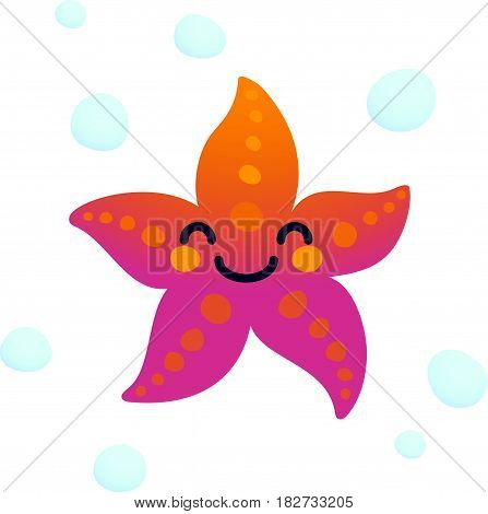 Vector illustration adorable smiling starfish character isolated on a white background
